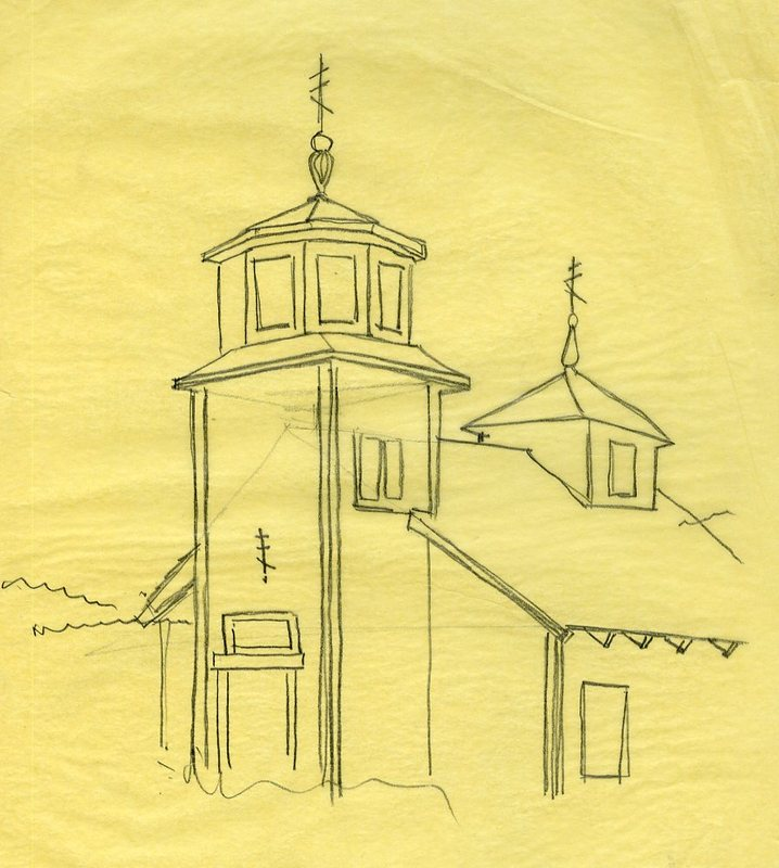 Sketch of St. Nicholas Russian Orthodox Church in Seldovia