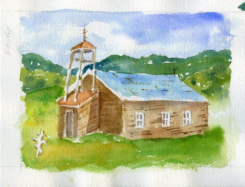 Watercolor of St. Nicholas Russian Orthodox Church