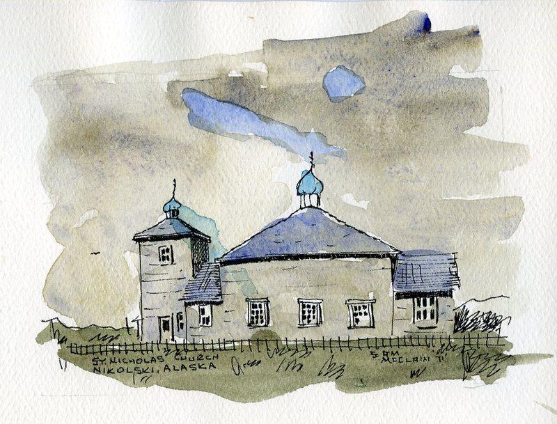 Watercolor of the St. Nicholas Russian Orthodox Church in Nikolski