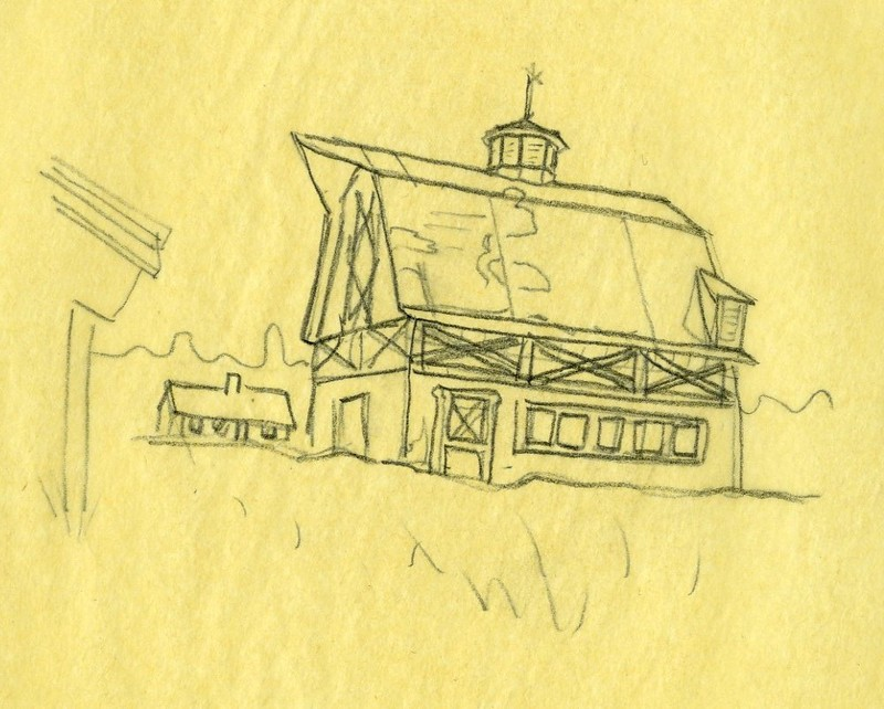 Sketch of a barn in Palmer