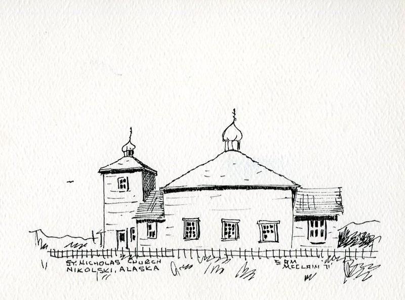 Drawing of the St. Nicholas Russian Orthodox Church in Nikolski