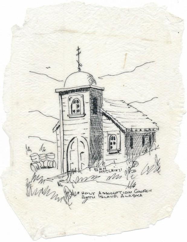 Sketch of Holy Assumption Russian Orthodox Church on Attu