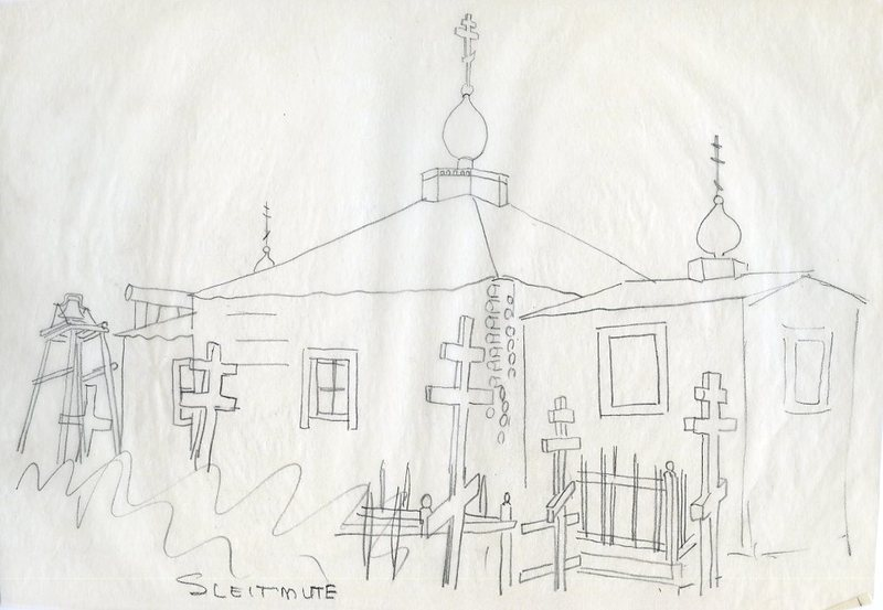 Drawing of Saints Peter and Paul Russian Orthodox Chapel, Sleetmute
