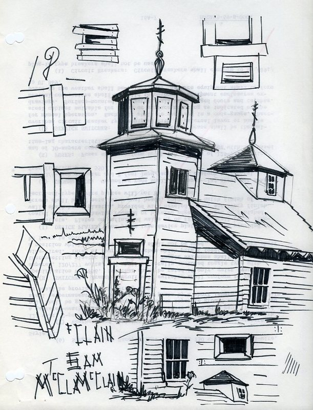 Sketches of St. Nicholas Russian Orthodox Church and windows in Seldovia