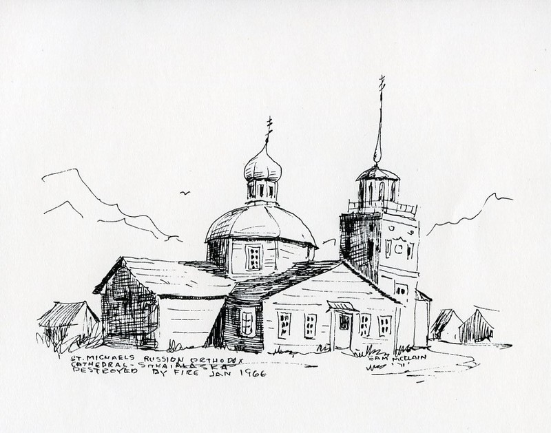 Drawing of St. Michael the Archangel Cathedral in Sitka