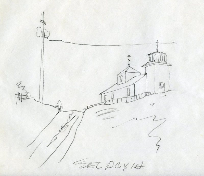 Sketch of a street and St. Nicholas Russian Orthodox Church in Seldovia