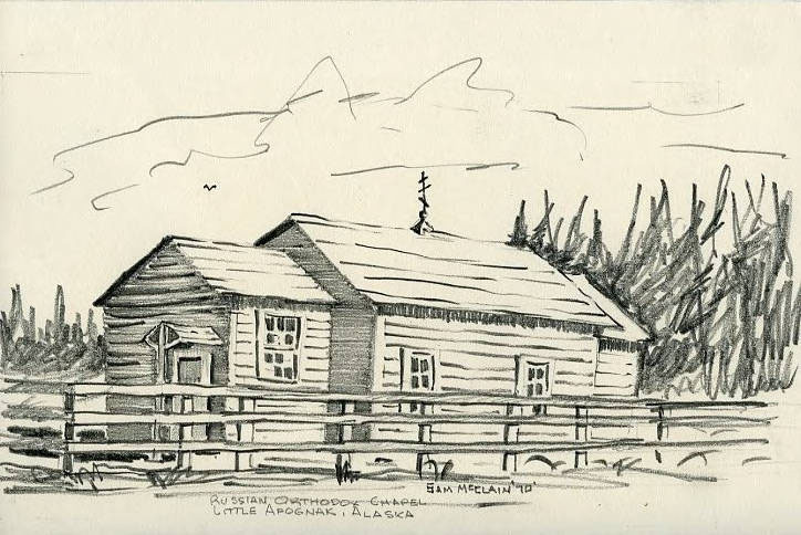 Sketch of a Russian Orthodox Chapel, Little Afognak
