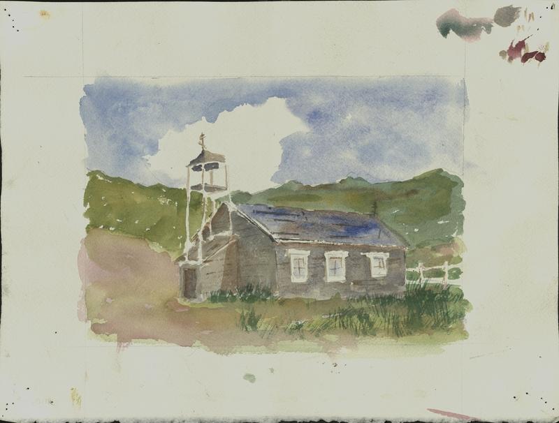 Watercolor of St. Nicholas Russian Orthodox Chapel