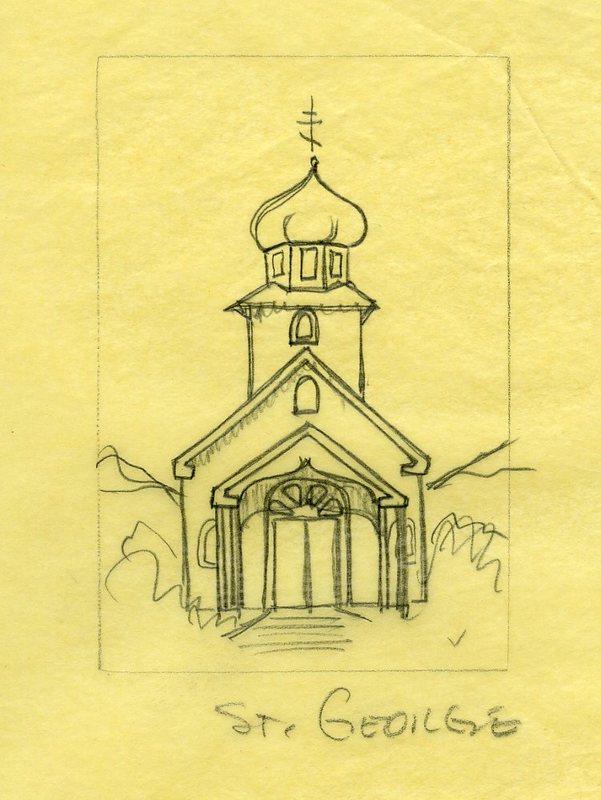 Sketch of St. George Church, St. George Island