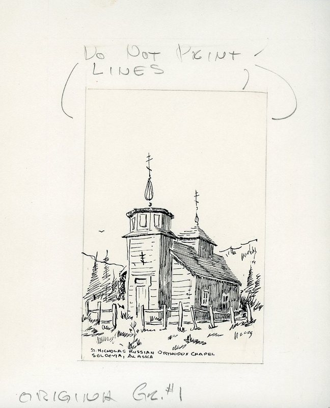 Drawing and spec for a card of St. Nicholas Russian Orthodox Church in Seldovia