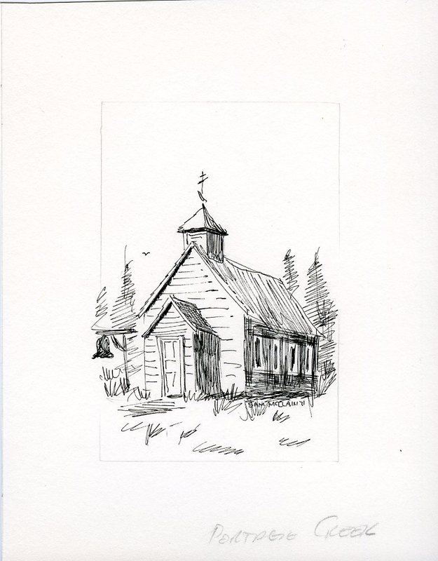 Drawing of St. Basil Russian Orthodox Church, Portage Creek