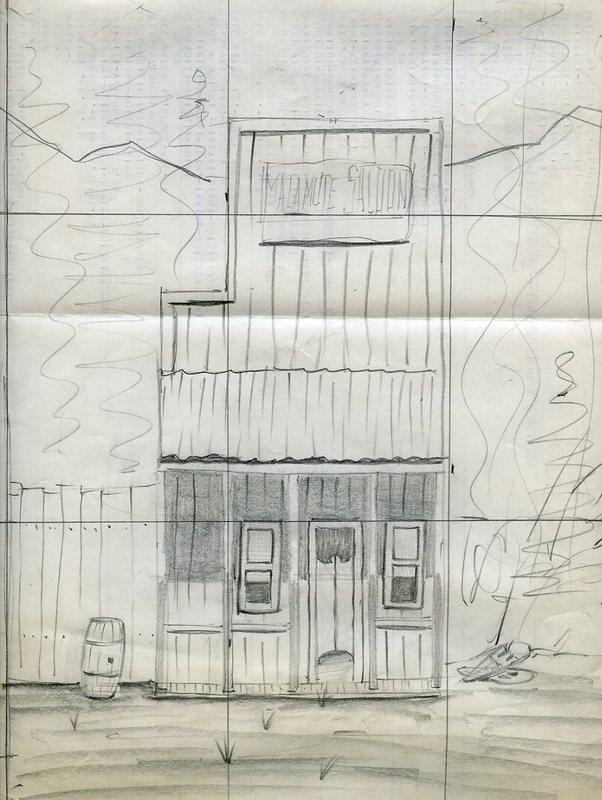 Sketch of the Malamute Saloon, in Ester, AK