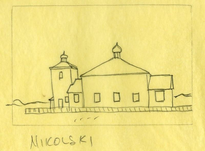 Preliminary sketch of the St. Nicholas Russian Orthodox Church in Nikolski