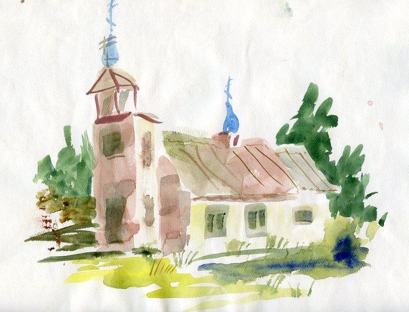 St. Nicholas Russian Orthodox Chapel watercolor