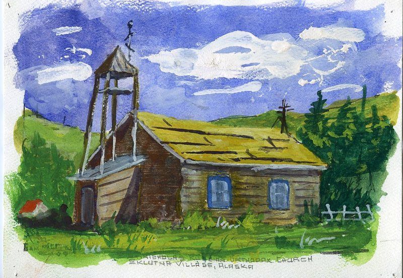 Watercolor of the old St. Nicholas Russian Orthodox Church