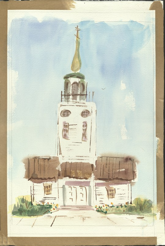 Watercolor of St. Michael the Archangel Cathedral in Sitka