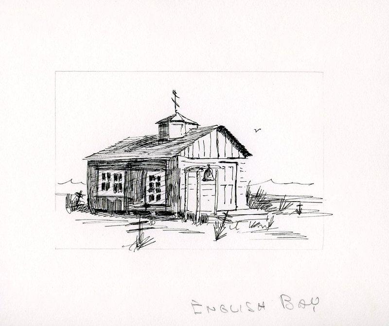 Sketch of a Russian Orthodox Church in Nanwalek (English Bay)