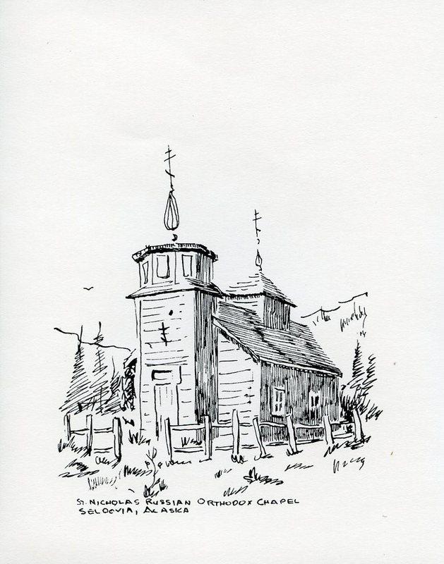 Drawing of St. Nicholas Russian Orthodox Church in Seldovia