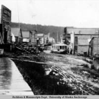 Main street of Ruby, Alaska on the Yukon