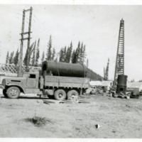 Camp construction on the Alaska Highway.