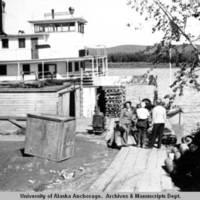 Steamboat at dock in McGrath, 1943.