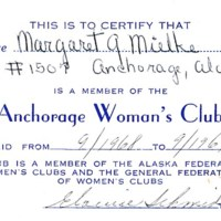 Anchorage Woman's Club membership card, 1968