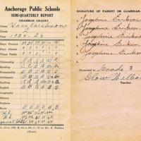 Anchorage Public School report card, 1926