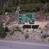 Sign at the junction of the Craig-Hollis and Hydaburg roads.