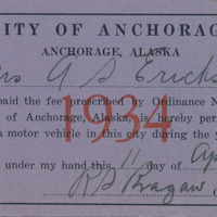City of Anchorage driver's license, 1934