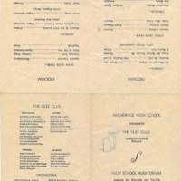 Anchorage High School Glee Club program, 1933