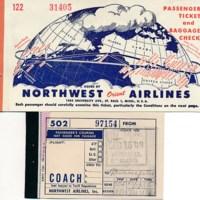 Northwest Airlines ticket stub, 1949