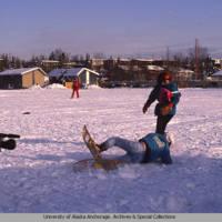 Snowshoe softball at Fur Rondy, 1992