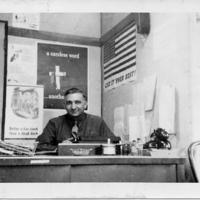 Fort Richardson serviceman at desk, 1943