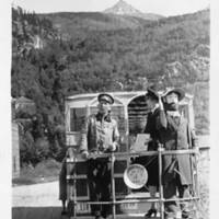 Martin Itjen and his street car, Skagway, 1940