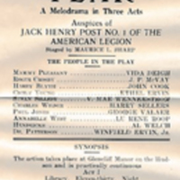 "Empress Theatre program for ""Fear,"" 1927"