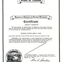 Anchorage Symphony Women's League incorporation, 1986
