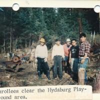 Clearing the Hydaburg playground area.