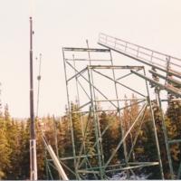 Hilltop ski jump construction, 1988