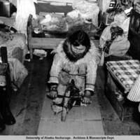 Eskimo woman cleaning skin, 1948