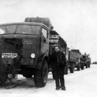 Man in front of convoy.