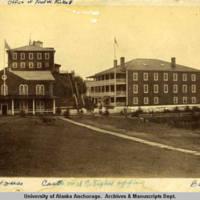 Custom house, castle, and barracks in Sitka, circa 1883