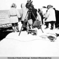 """Whaling crew during production of the movie """"Eskimo"""" at Point Hope, Alaska, 1932-1933."""