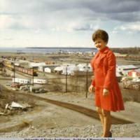 Clara Downins in front of Ship Creek, 1970