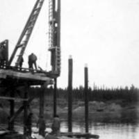 Construction of Liard River bridge