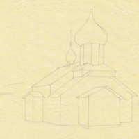 Sketch of Russian Old Believers Church in Nikolaevsk