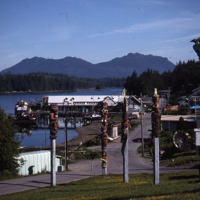 Totem park in Klawock looking north toward the cannery, circa 1991