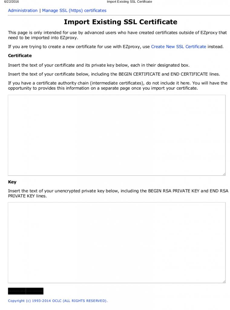 Import Existing SSL Certificate