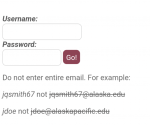 Image of off-campus access login page