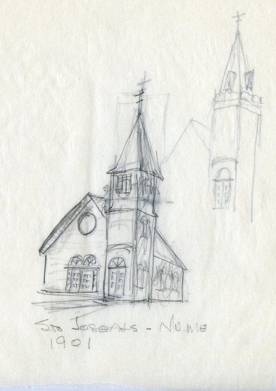 Sketch of Saint Joseph Catholic Church in Nome