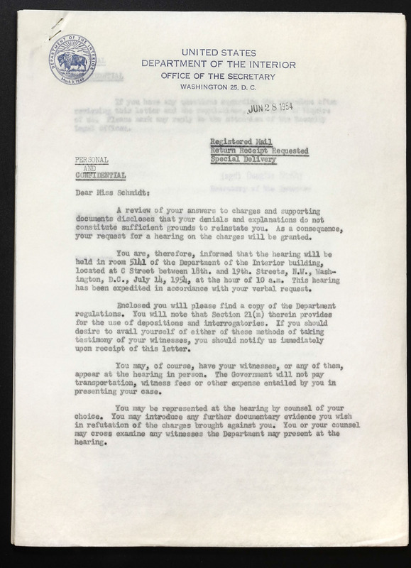 Letter from Secretary of the Interior, Douglas McKay, 1954.